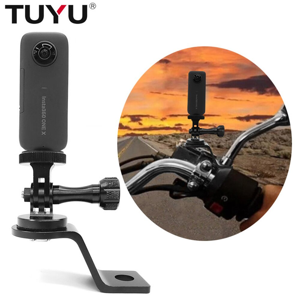 TUYU aluminio motocicleta espejo retrovisor montaje soporte fijo Stent para Insta 360 One X accesorio de cámara Gopro