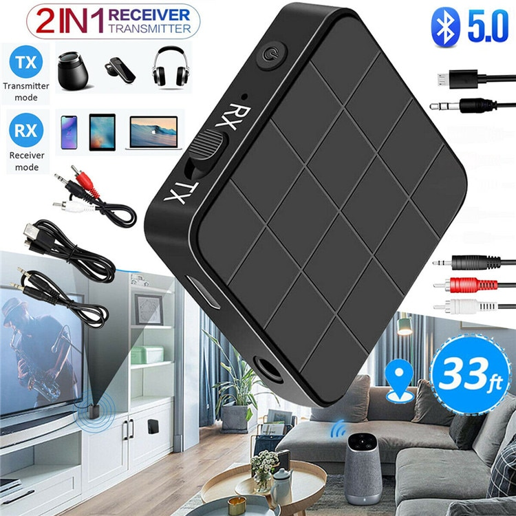 Bluetooth 5.0 Transmitter Receiver RCA Wireless Adapter Stereo Audio 3.5mm Aux Jack Adapters for TV
