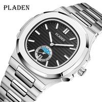Роскошные мужские часы, стильные Серебристые кварцевые часы высокого качества из нержавеющей стали 316L, наручные часы с автоматической дато...