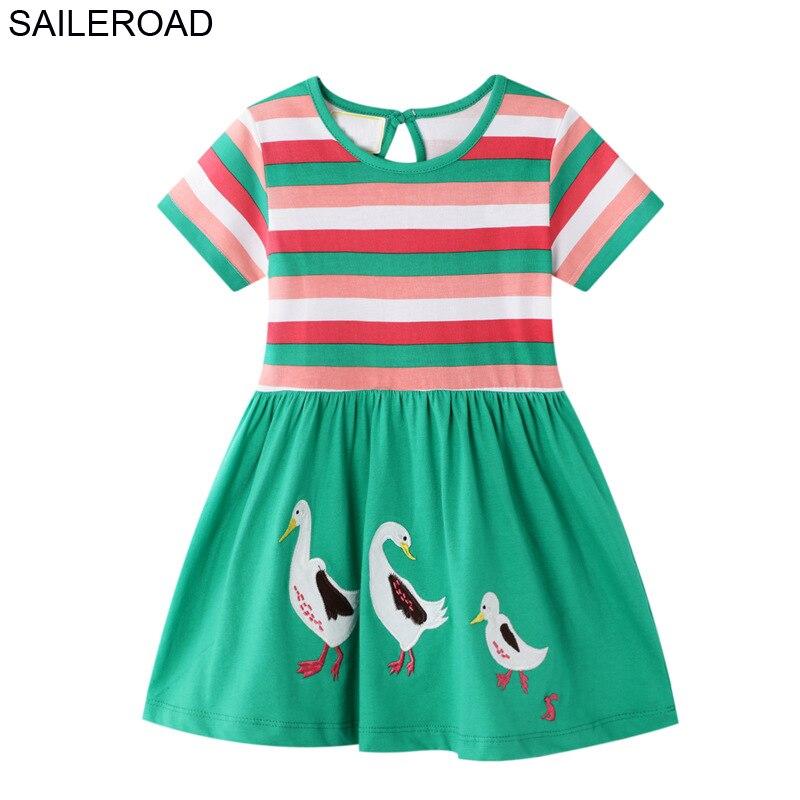 SAILEROAD Animal Duck Applique Dress Girl 2-7Years Kids Princess Dress para Baby Girl Clothes Vestidos elegantes para niñas Vestidos