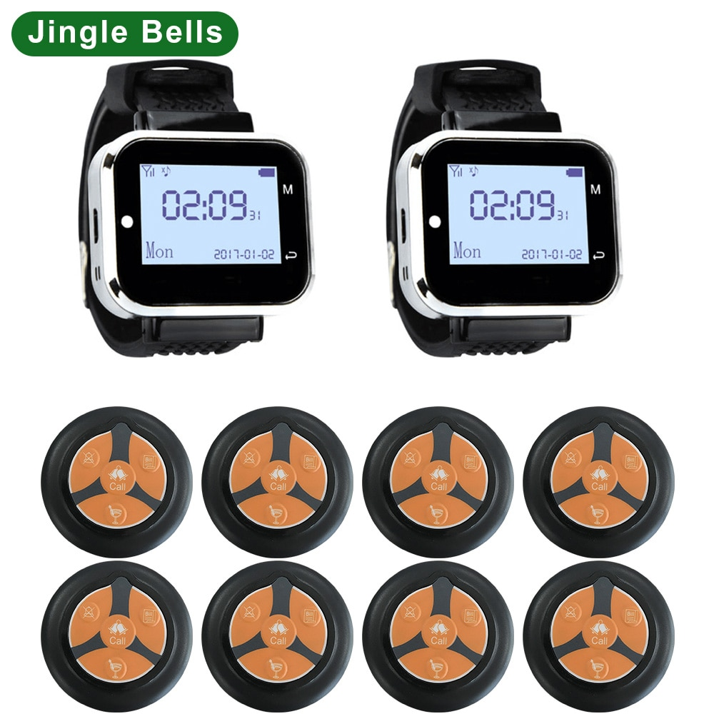 JINGLE BELLS 2 or 3 Watch Receiver 8 Call Button Wireless Waiter Calling System For Restaurant Service Pager System Call Bell