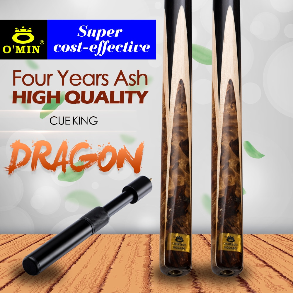 Original O'MIN DRAGON Billiard Snooker Cue Tabby maple Shadow wood Butt 9.5mm Tip Ash shaft Black 8  with Case with Extension
