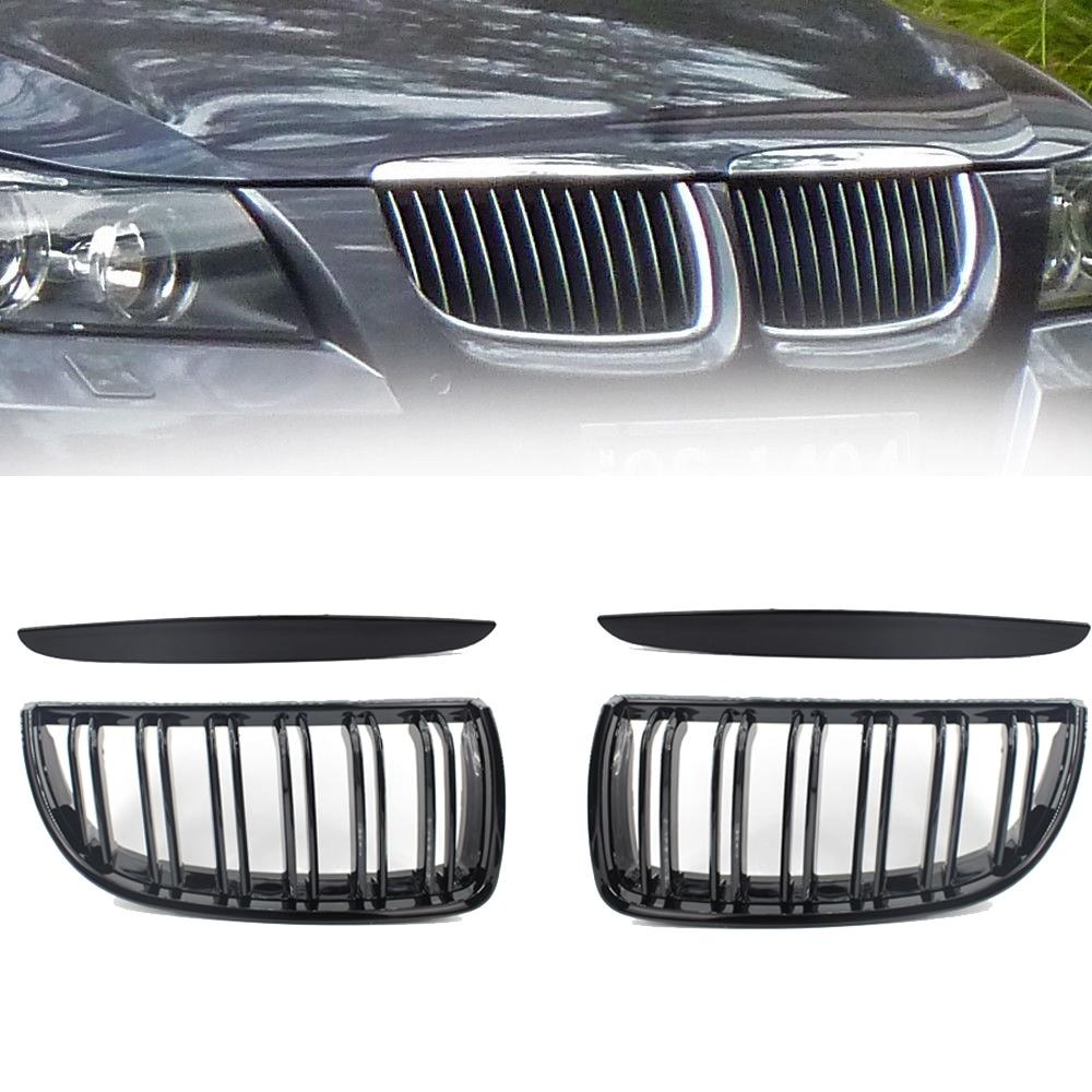 Rejillas de parrilla de riñon delantero negro para BMW E90 E91 318 320i 325i 330i 2006-2008 rejilla de admisión automática de alta calidad Se30