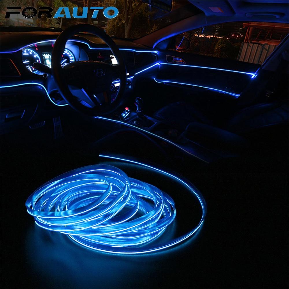 FORAUTO 5m EL cable Flexible de neón tiras de luz de decoración Interior del coche 12V LED luces frías lámparas decorativas lámparas de coche