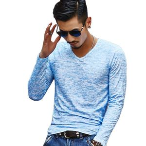 Mens Casual Slim Fit T-Shirts Long Sleeve Cotton Blended Basic V Neck Tees Hipster Hip Hop Cotton Plain Casual Jersey Shirt