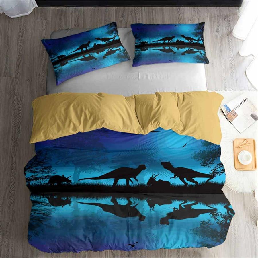 HELENGILI 3D Bedding Set Jurassic Park Dinosaur Print Duvet cover set bedclothes with pillowcase bed set home Textiles #DG-16