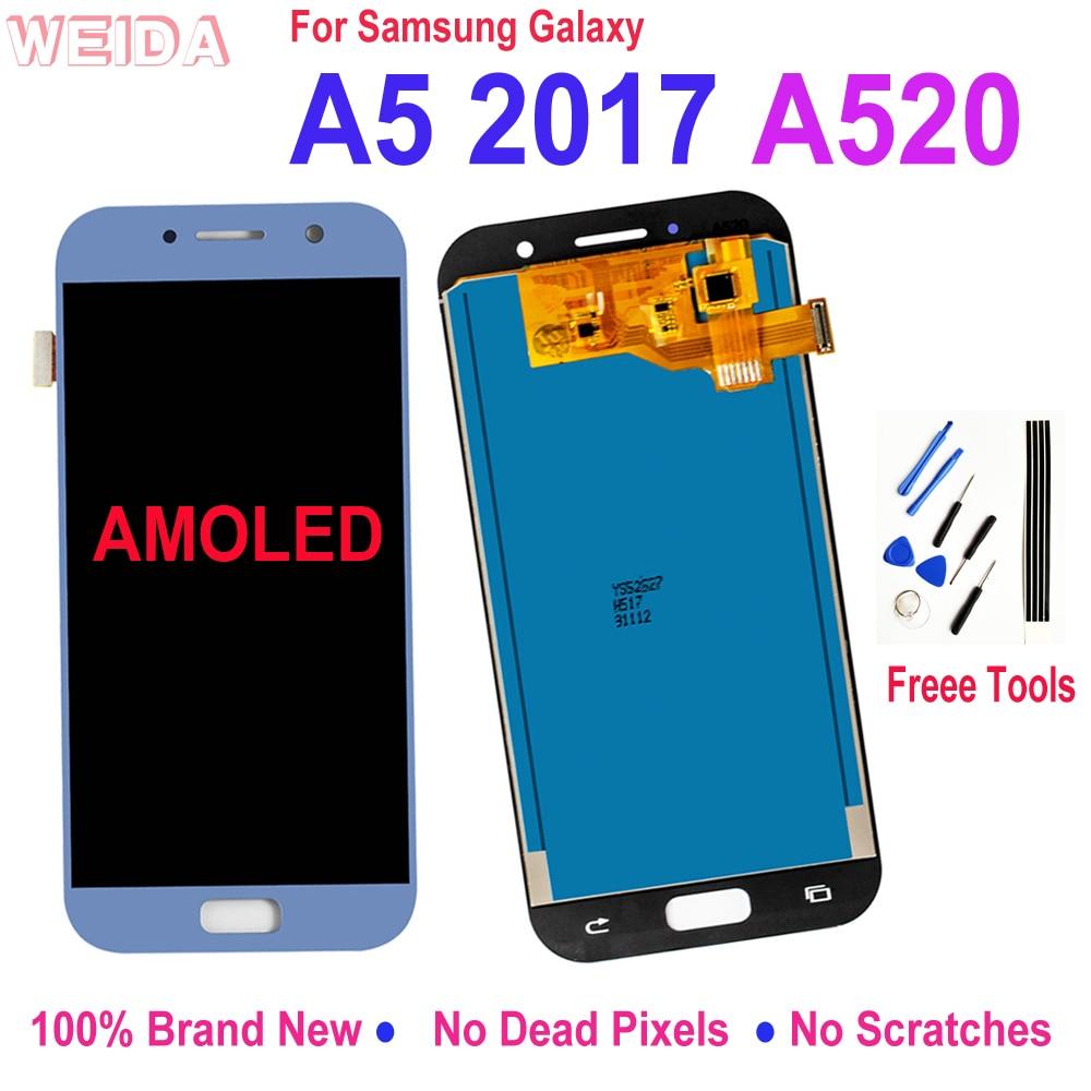 Lcd لسامسونج غالاكسي A5 2017 A520 LCD عرض تعمل باللمس محول الأرقام زجاج الجمعية استبدال لسامسونج A520F SM-A520F Lcd