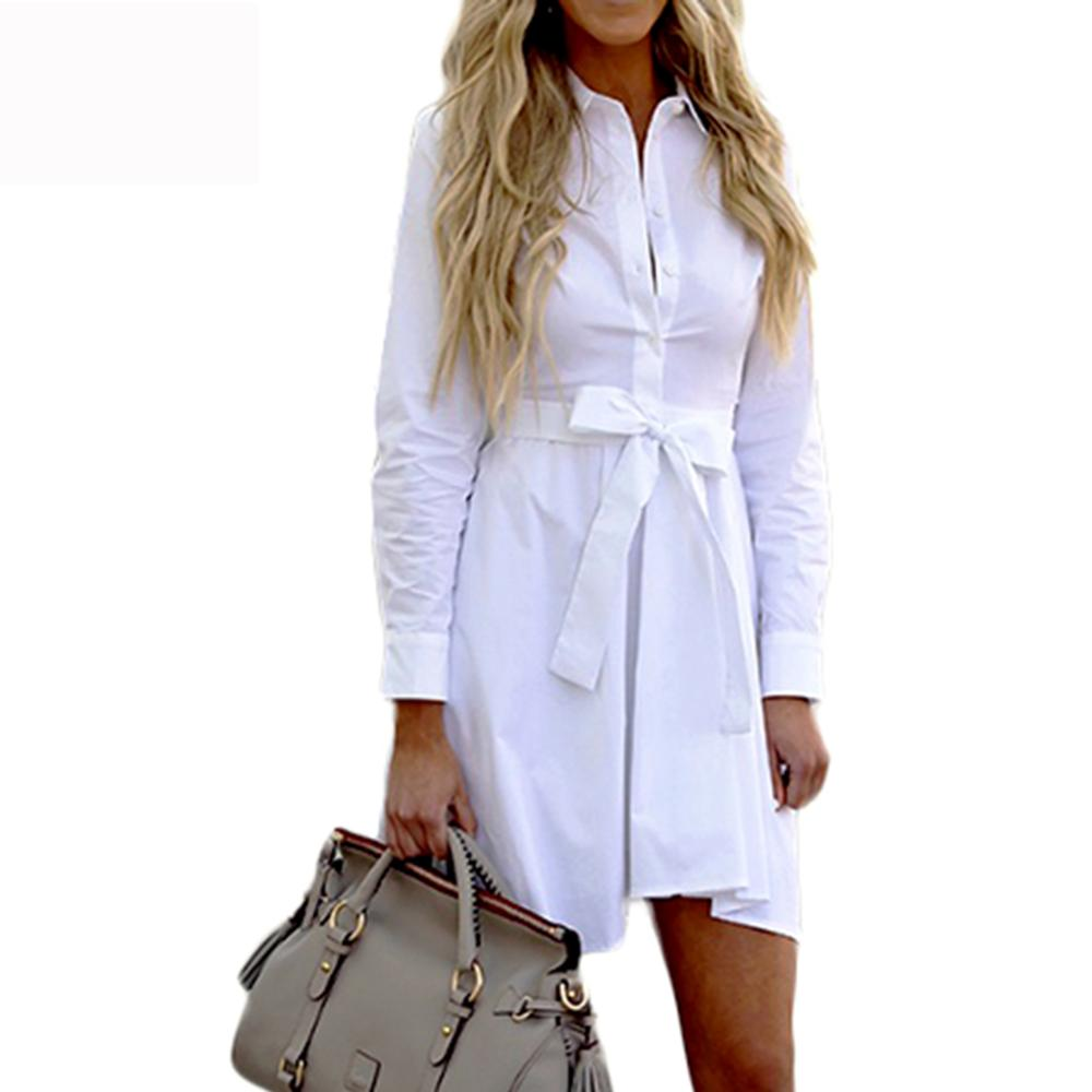 2020 Autumn winter dress shirt Pleated high waist women dress Vintage office lady white dresses Long sleeve cotton Casual Comfor