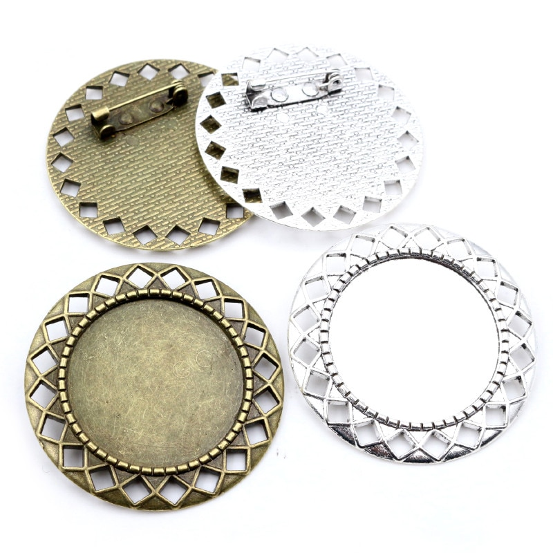 5pcs 30mm Inner Size Antique Silver Plated Bronze Colors Classic Style Brooch Pin Cabochon Base Setting