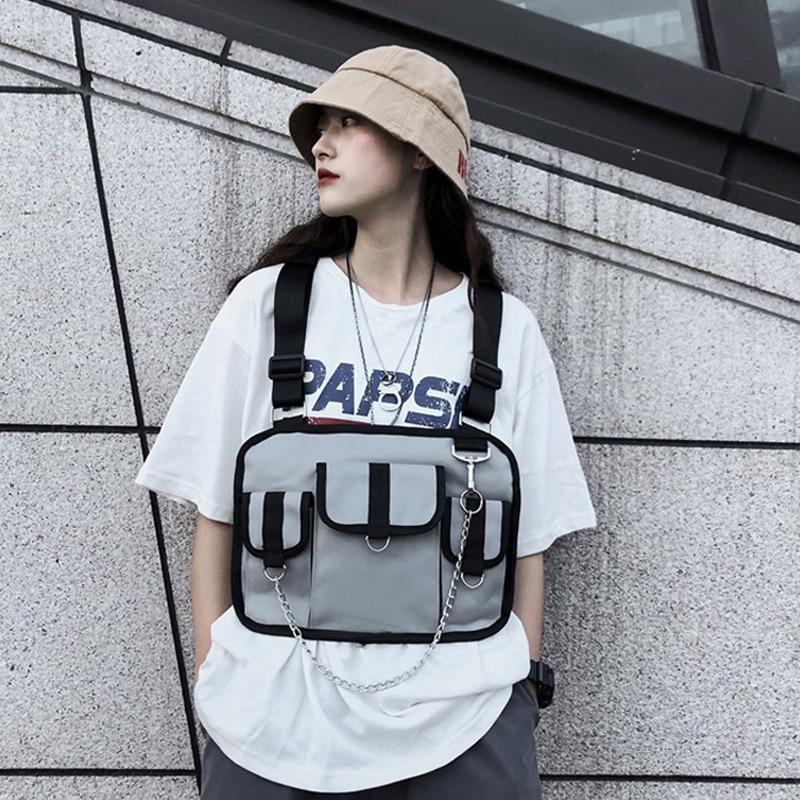 Moda Homens Táticos Sacos de Peito Rig Mulheres Hip Hop Streetwear de Ferramentas À Prova D Água Sacos Cadeia Unisex Colete Cintura Fanny Pacote Acessível pack