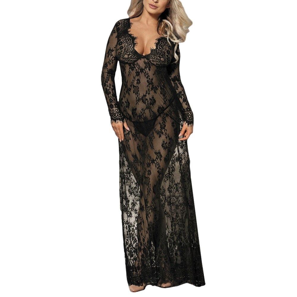 Plus Size Sexy Babydoll Lingerie Erotic Women Black Lace Costume Sleepwear Dress Transparent Hollow-out Chemise Underwear