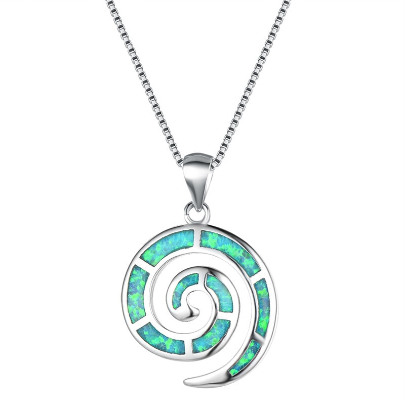 Collares con colgante de concha espiral de ópalo de fuego blanco azul verde púrpura naranja para mujer Collar de plata geométrica de Ley 925 para boda