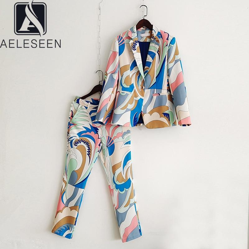 AELESEEN موضة المدرج 2 قطعة مجموعات 2021 عالية الجودة مصمم التباين اللون طباعة السترة + السراويل الطويلة مكتب السيدات مجموعة