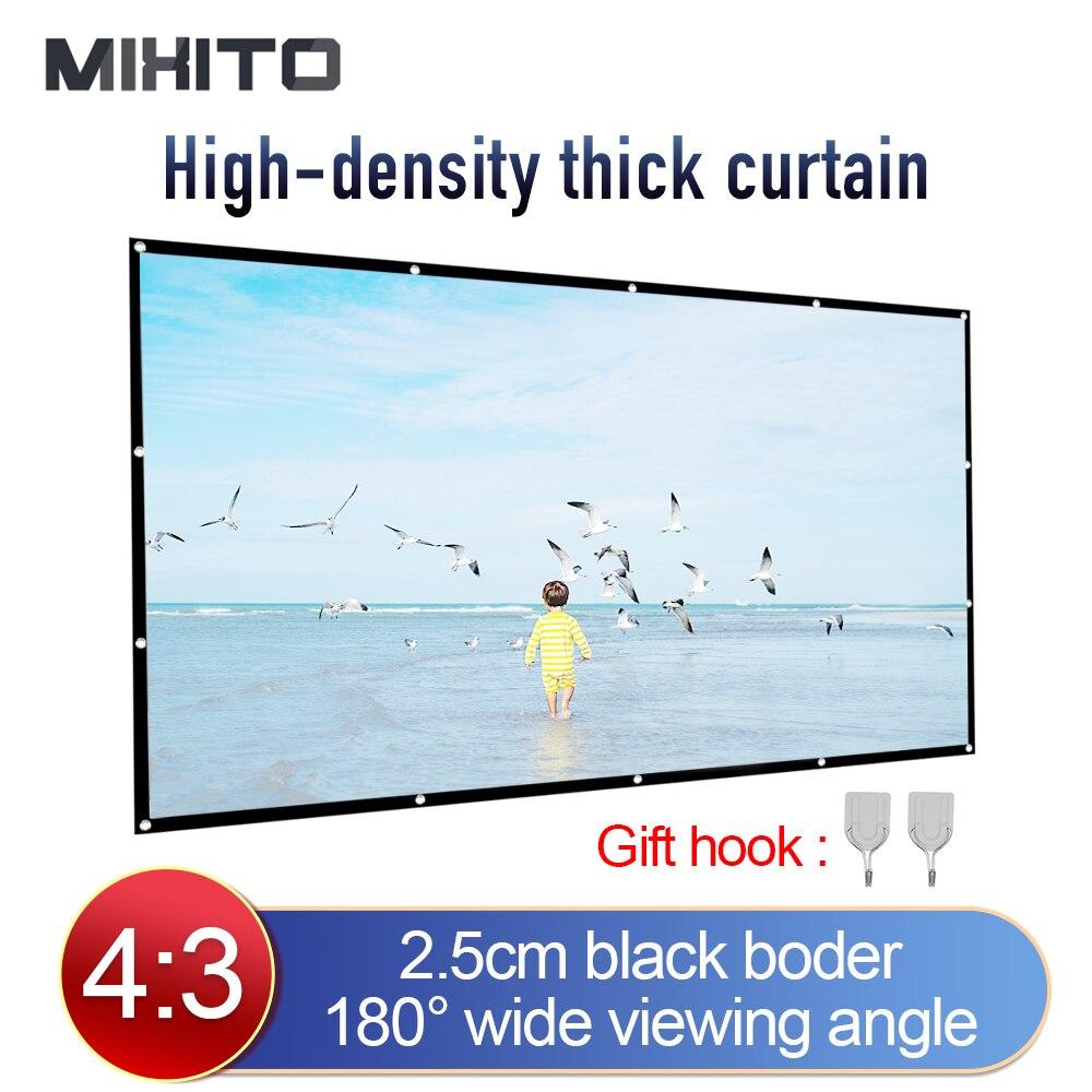 Mixito 43 tela do projetor da altura-densidade 100 120 150 polegada 1080p 3d 4k hd portátil dobrável tela de filmes de projeção