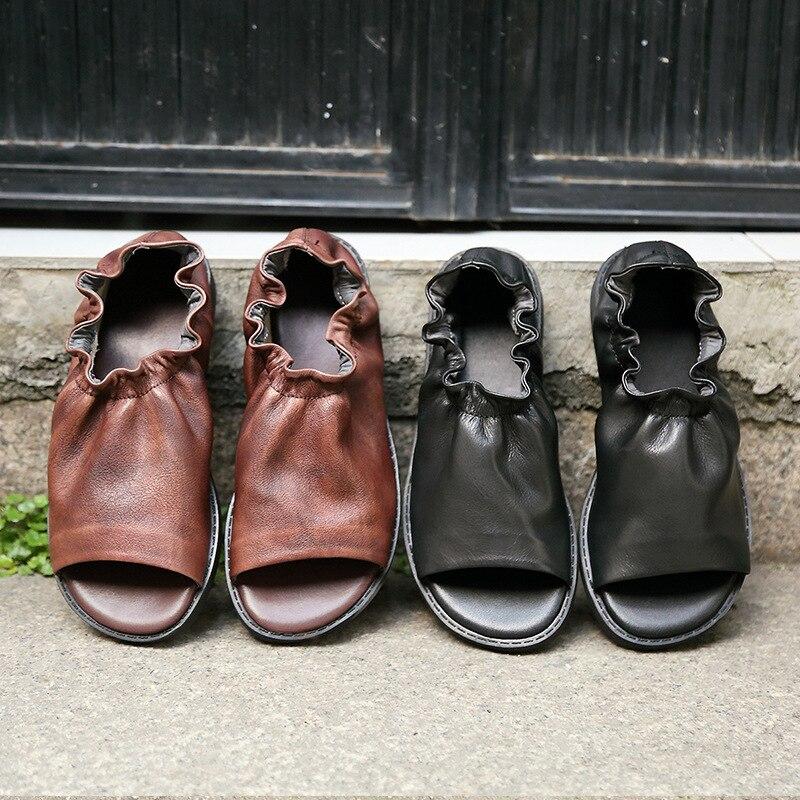 Zapatos de verano sandalias de mujer zapatos planos sandalias de cuero genuino hecho a mano zapatos de mujer Vintage Casual sandalias de verano de fondo suave
