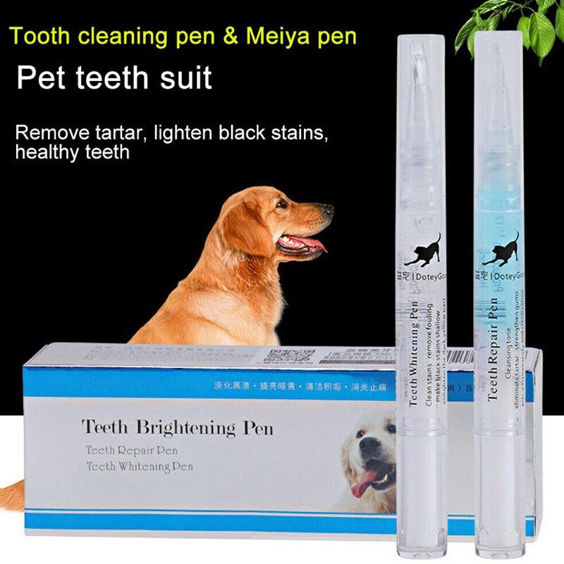Animais de estimação cães dentes dental cálculo pedras removedor escova de dentes limpeza kit 2 pçs 5ml/2ml dtt88