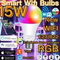 Ampoule intelligente LED E27  15W  variable  RGB  Wifi  lumiere ou telecommande IR  lampe de fete  domotique  Alexa Google Assistant