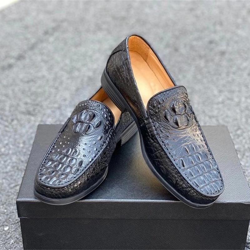 الأعمال نمط غير رسمي أصيلة جلد التمساح الرجال المتسكعون الأسود غريبة حقيقية جلد التمساح الذكور الانزلاق على اللباس أحذية