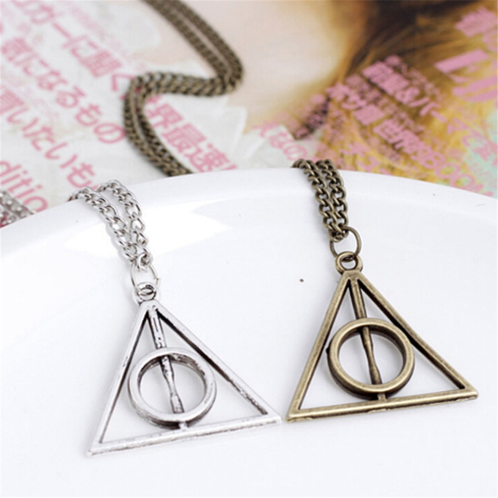 Виселица кулон игрушки ожерелье ретро Треугольник круглый свитер цепь ожерелье Луна и Deathly Фигурки игрушки