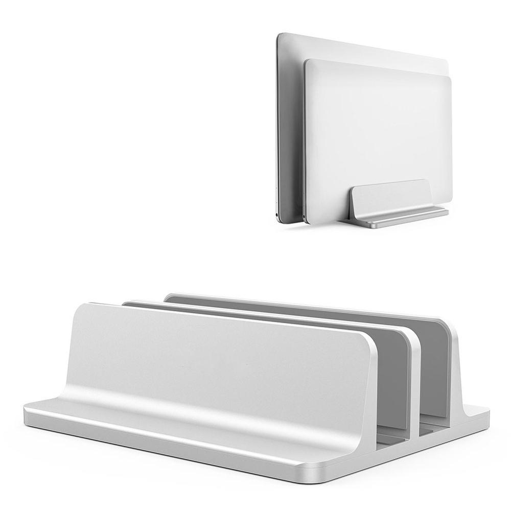Vertical Laptop Stand Aluminium Double Desktop Holder Space Saving Bookshelf Mount Bracket with Adjustable Dock For Notebook