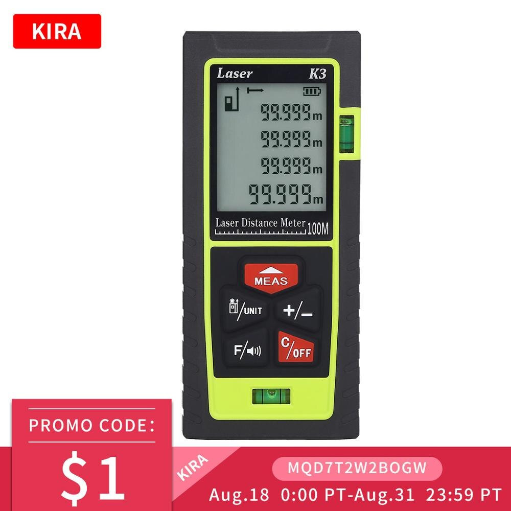 Kira laser rangefinder medidor de distância 100m 70m 50m 40m laser range finder build medida digital régua trena roleta Telêmetro a laser    -