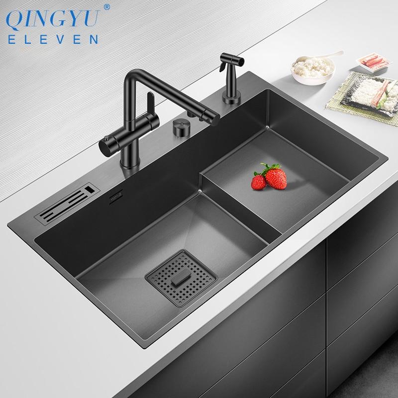 2021 نانومتر صعدت بالوعة المطبخ 304 الفولاذ المقاوم للصدأ 4 مللي متر سمك 220 مللي متر عمق كبير الحجم اليدوية حامل سكاكين أحواض مطبخ