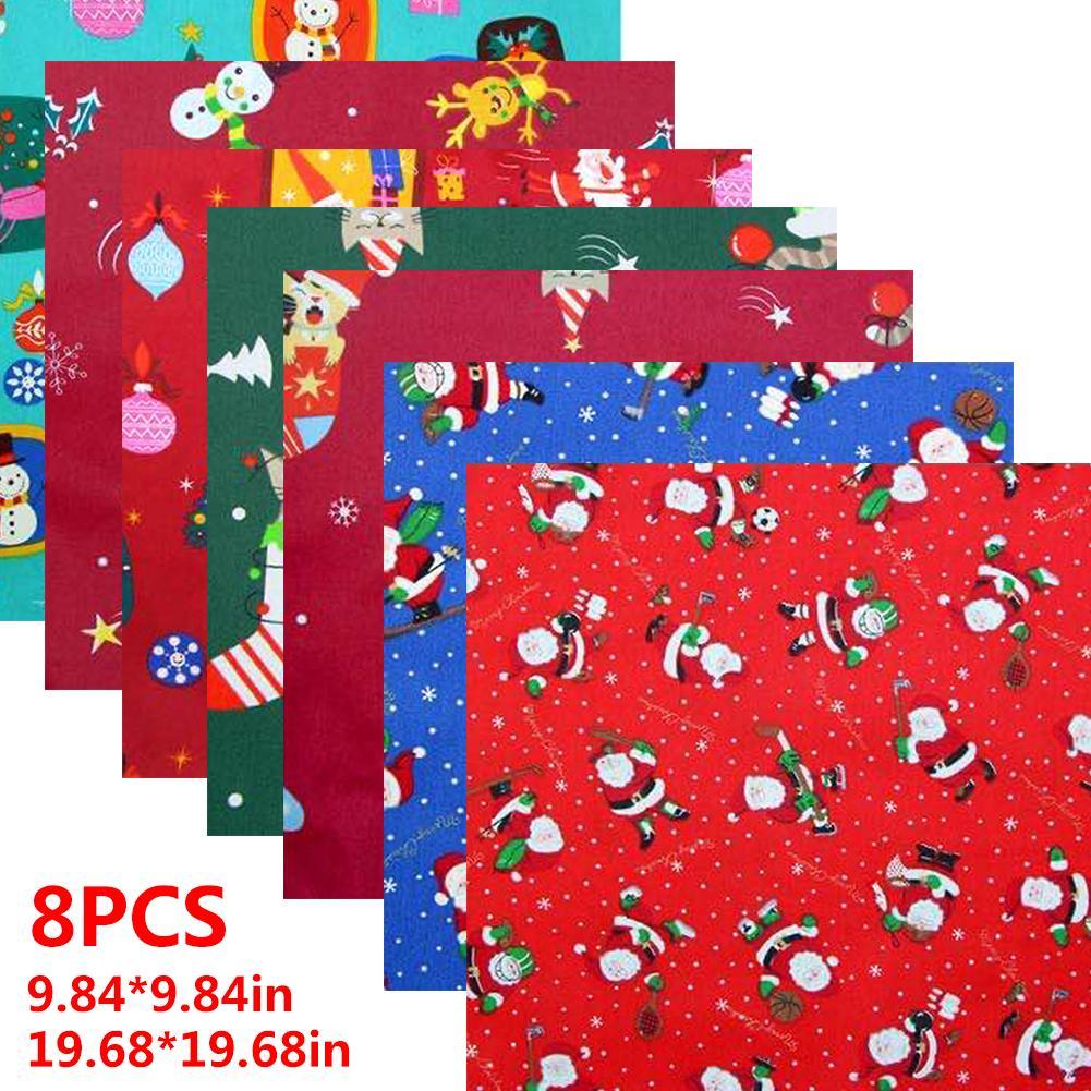 8 Uds. Tela de algodón de Navidad para coser la cara artesanía diseño navideño DIY tela de algodón transpirable