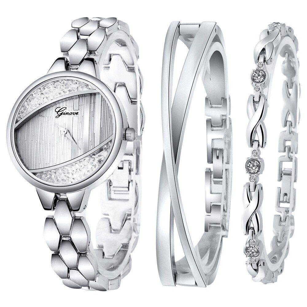 Women's Luxury Bracelet Bangle Watch 3PCS/Set With Diamond Quartz Watches For Woman Wrist Ladies WristWatch Clock Reloj De Mujer enlarge