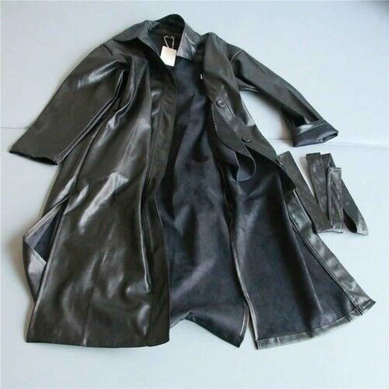 2020 Autumn Winter Cool Faux Leather Long Jacket New Women Fashion Loose Belt Windbreaker Coat Slim Overcoat Oversize Outwear enlarge