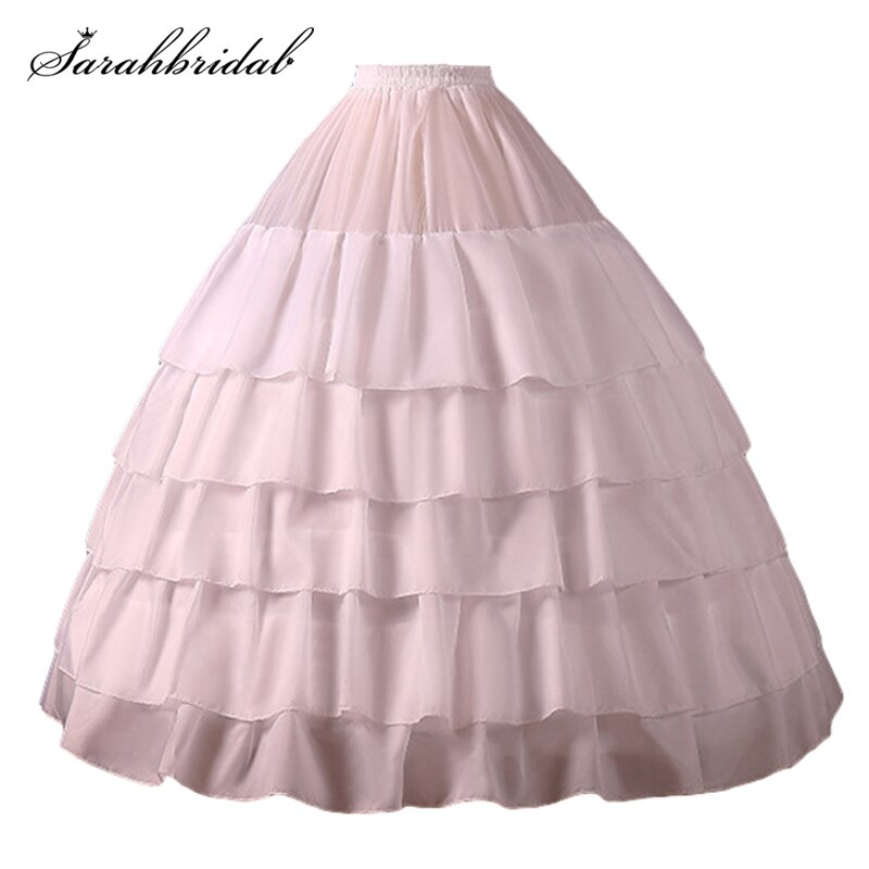 Women A Line 5 Layers 4 Hoop High Quality Petticoat Adult Wedding Prom Party White Crinoline Slip Underskirt Accessories CQ001