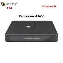 Beelink T34 Windows10 Mini PC processeur Intel J3455 8GB DDR3 128GB 4K lecteur multimédia 2.4G & 5.8G Wifi BT4.0 Windows 10 Gemini Min PC