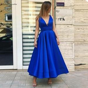 2020 Royal Blue Prom Dresses Long Ankle Length Deep V-Neck Zipper Back Satin Evening Gowns Formal Party Dress Vestidos De Festa