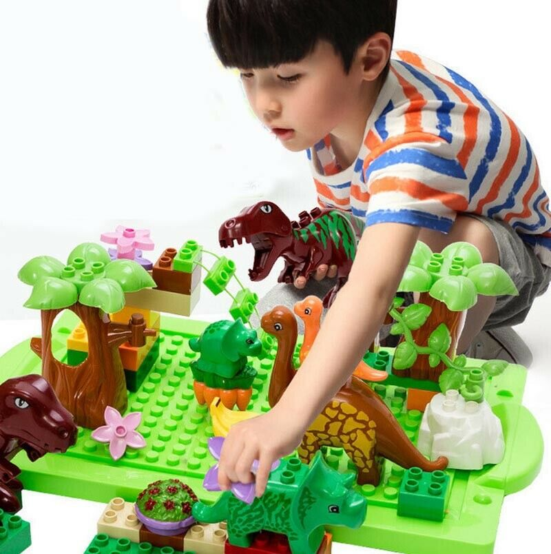 Детские игрушки-пазлы, большие детали, строительные блоки, 40 шт., собранные игрушки, пазл, динозавр, райский серия, строительные блоки, коробк...