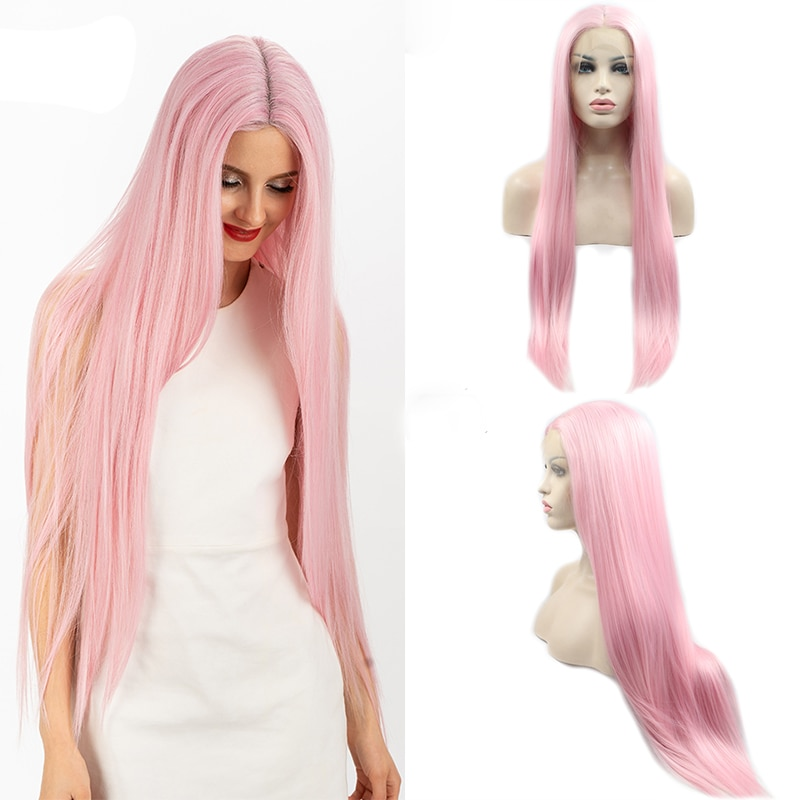 longo quente luz reta rosa peruca dianteira do laco sintetico lolita resistente ao