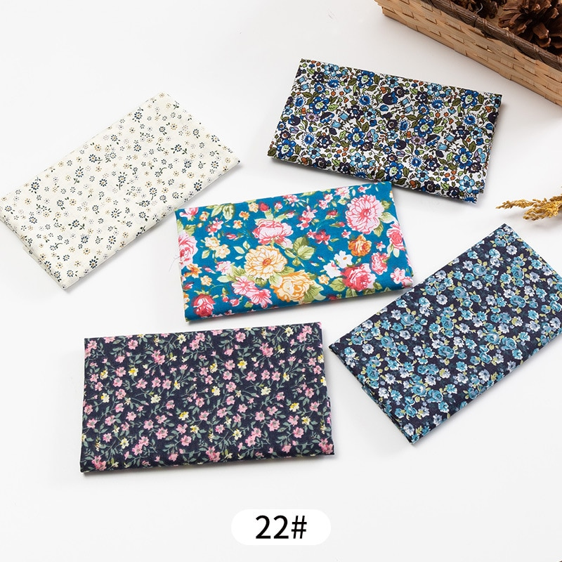 5Pcs/Set 25cmX25cm Floral Plaid Dot Stripes Print Cotton Fabric Sewing Quilting Cloth Patchwork Needlework Handmade DIY Material