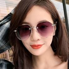 XaYbZc Sunglasses For Women ladies Rimless Diamond cutting Lens Brand Designer Ocean Shades Vintage