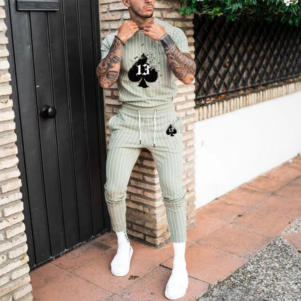 Lugentolo الرجال الملابس مجموعة الصيف حجم كبير مخطط عادية مطبوعة قصيرة الأكمام تي شيرت و السراويل دعوى