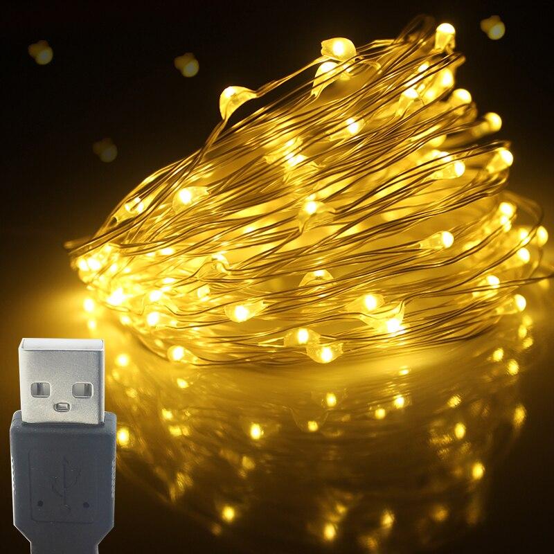Fiesta de Navidad 2M 200LED 5M 50LED 10M 100LED cuerda de luz USB impermeable DIY barra lámpara para escenario Casa Encantada LED cuerda