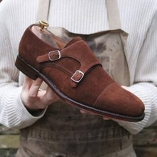 High Quality Fashion Men Suede Leather Shoes Male Casual Classic Trendy Vinage Low Heel Monk Strap S