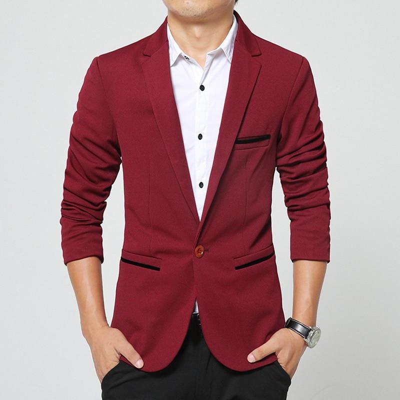 Oeak Men Casual Suit Jacket One Button Brand Mens Blazer Jacket British's Style Slim Fit Suit Jacket Men Formal Coat Business