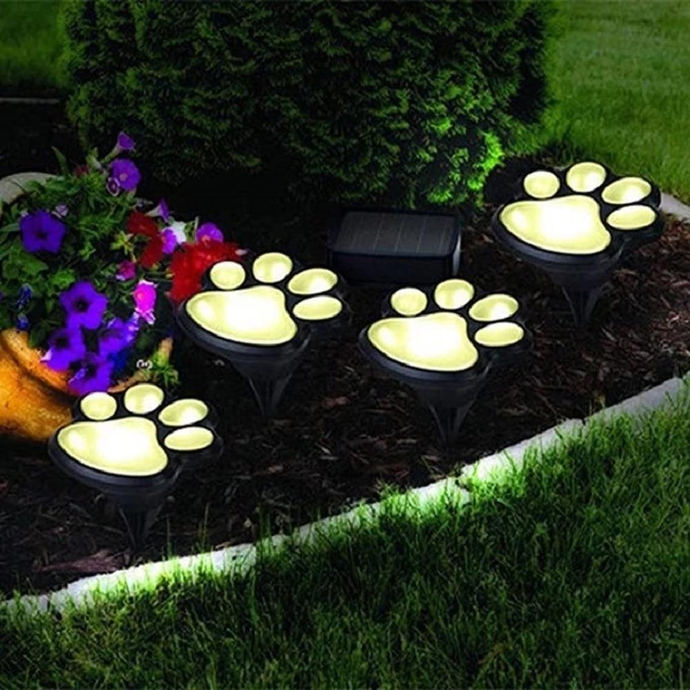 LED Solar Garden Light Outdoor Waterproof for Garden Decoration Dog Cat Animal Paw Print Lights Path Lawn Lamp String Paths Ligh