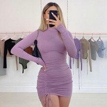 QuanRun Fashion Sexy Women O Neck Long Sleeve Pleated Tassel Mini Dress Party Club Streetwaer Slim S
