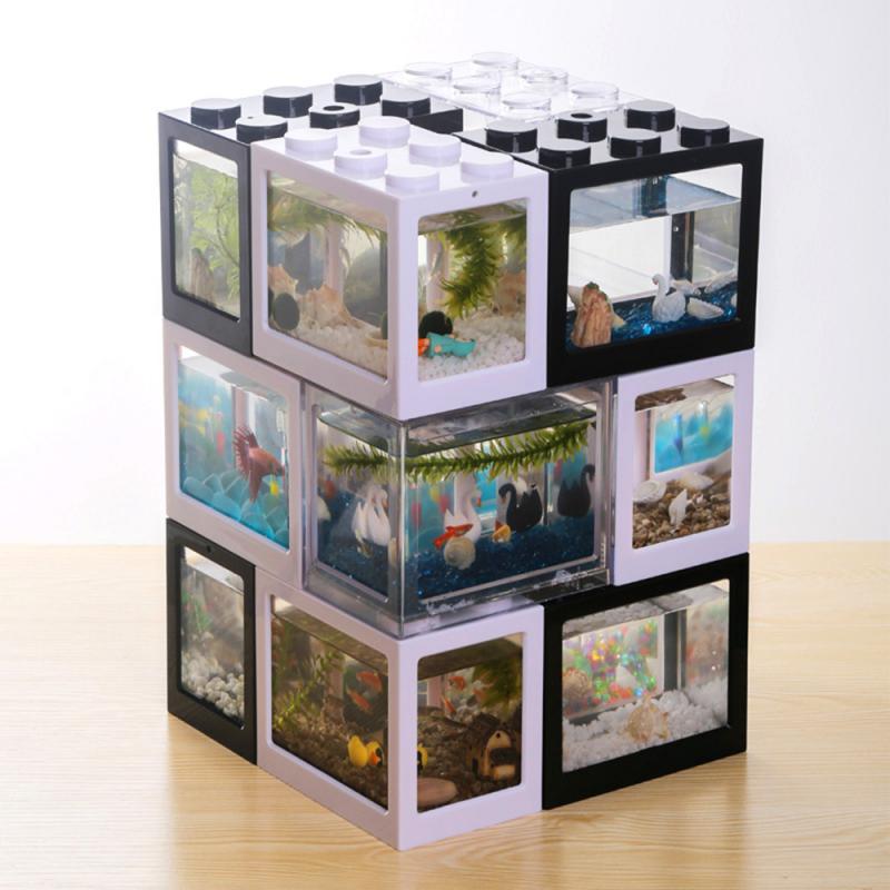 Mini transparente acuario ecológica tanque hormiga araña pescado tanque a casa de oficina mesa de té pequeño bloque de construcción del tanque de peces