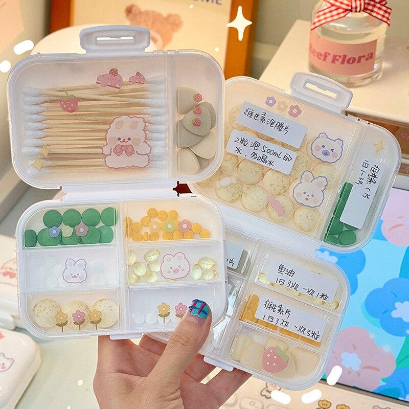 Органайзер для хранения семейной медицины, портативный дорожный Чехол для таблеток, встроенный сетчатый ящик для небольших предметов, коро...