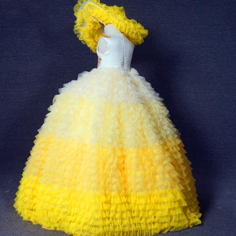 Yellow Girls Puffy  Princess Ball Gowns Yellow Girls Sleeveless Lace Applique Girls Celebrity Birthday Dresses Custom enlarge