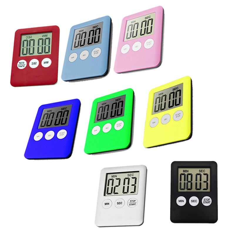 1 шт. кухонный таймер 8 цветов супер тонкий цифровой экран квадратный будильник прямого и обратного счета с магнитом кухонные аксессуары