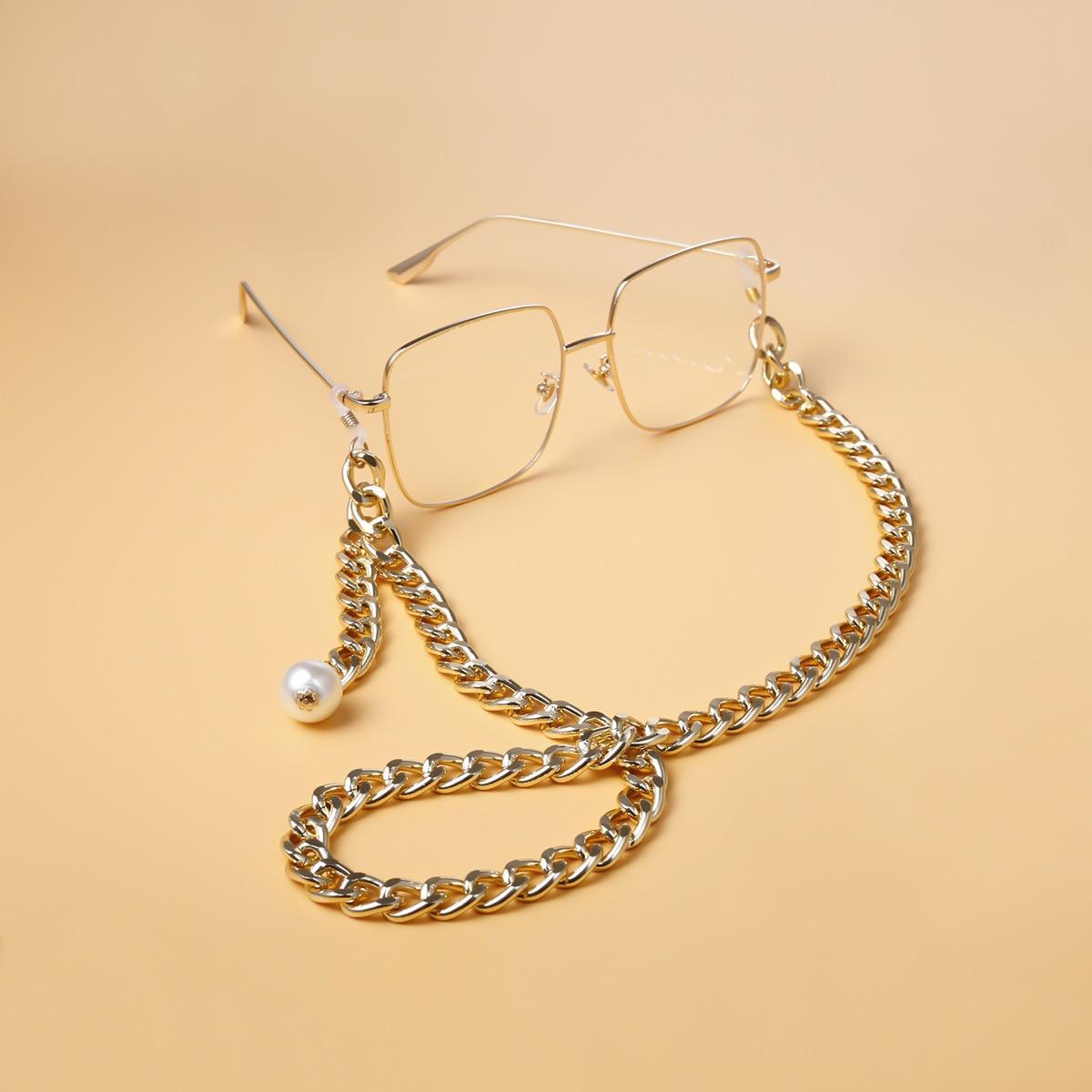 Punk rock chunky óculos de sol corrente cinta para homens mulher ouro prata cor leitura óculos cordão titular eyewear acessórios