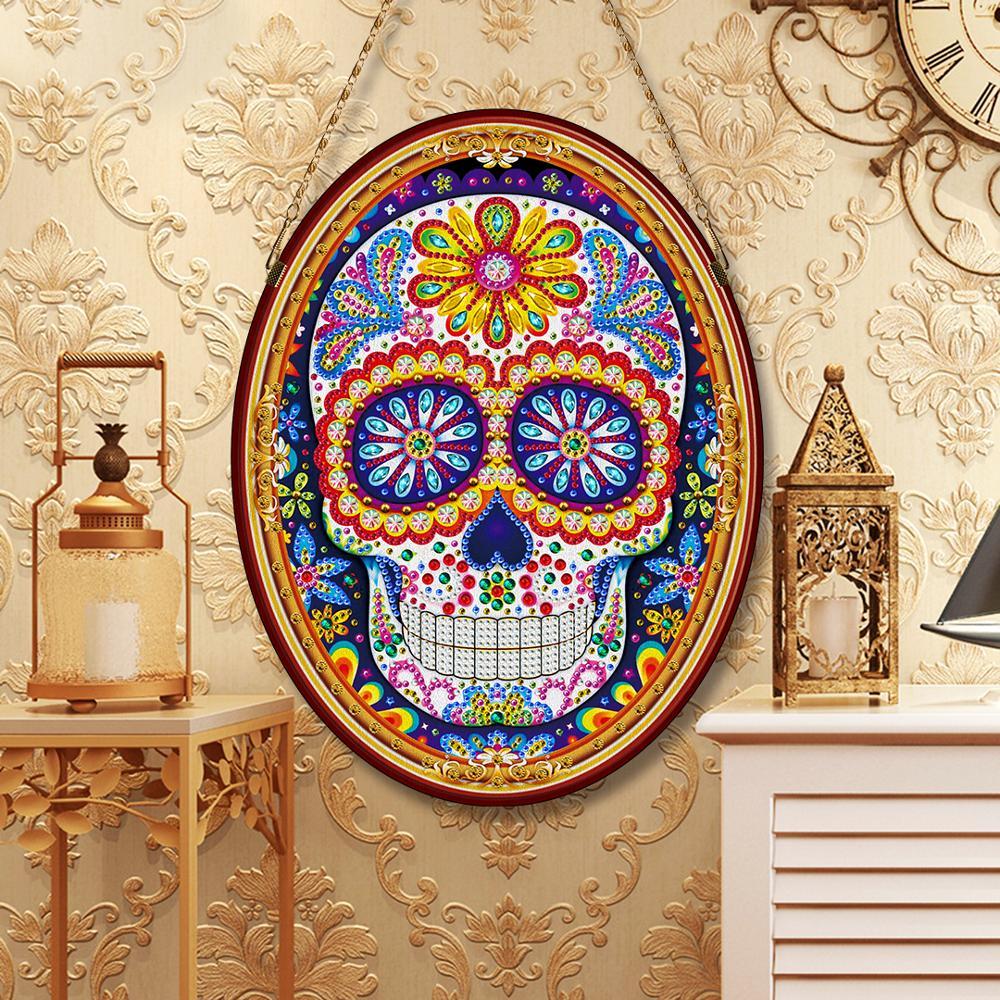 Nuevo Producto Diy, pintura de diamantes colgantes, bordado de cráneo, Diamante de imitación especial, arte de pared, regalo de cumpleaños, redondo brillante, Diamante GH03