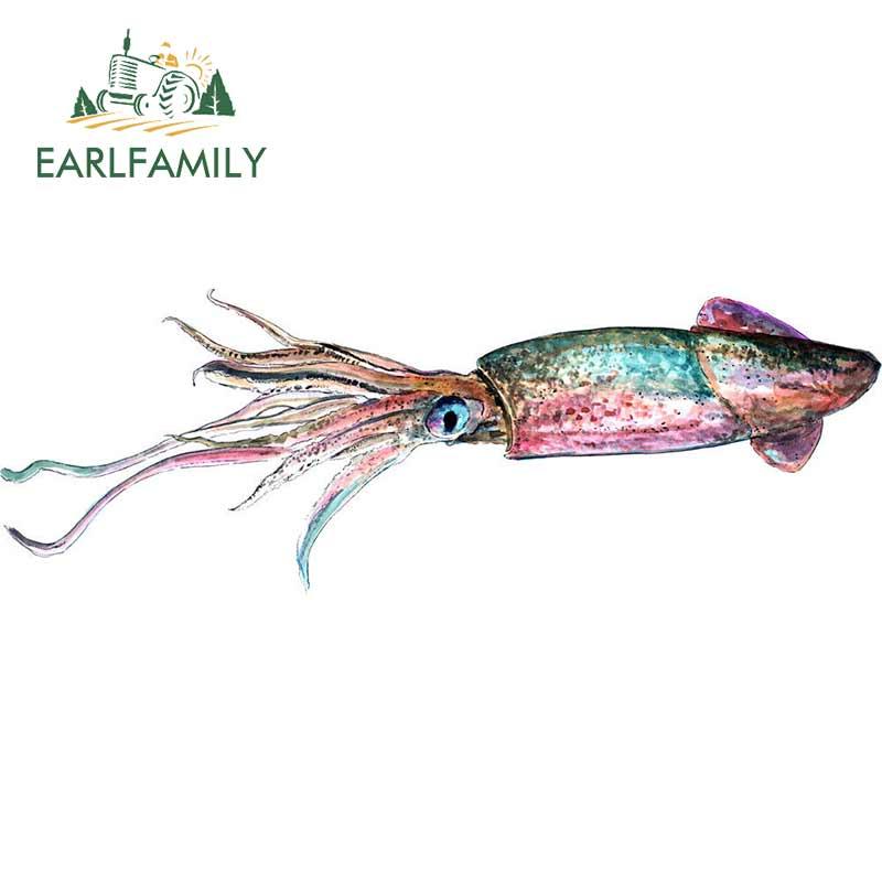 EARLFAMILY 13cm x 4,5 cm de dibujos animados etiqueta engomada del coche de calamar etiqueta engomada etiqueta de vida silvestre al aire libre la naturaleza caza campamento arte Car Styling Decor
