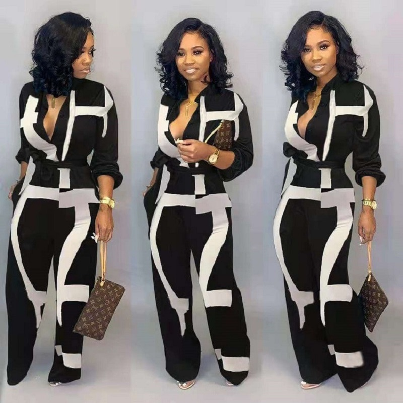Summer Female JumpsuitHigh Waist Print Wide Leg Pants Long Sleeve Loose Romper Office Lady Casual Clothing 2021 NewOveralls